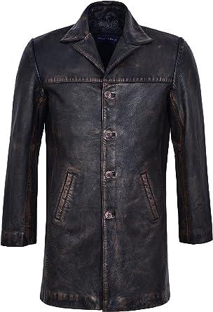 Mens Real Leather Coat Vintage Black Bronze Knee Length Button Closure Blazer 3476-B