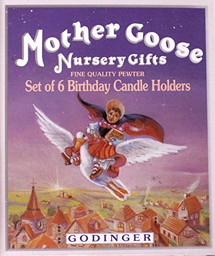 Pewter Mother Goose Birthday Candle Holders