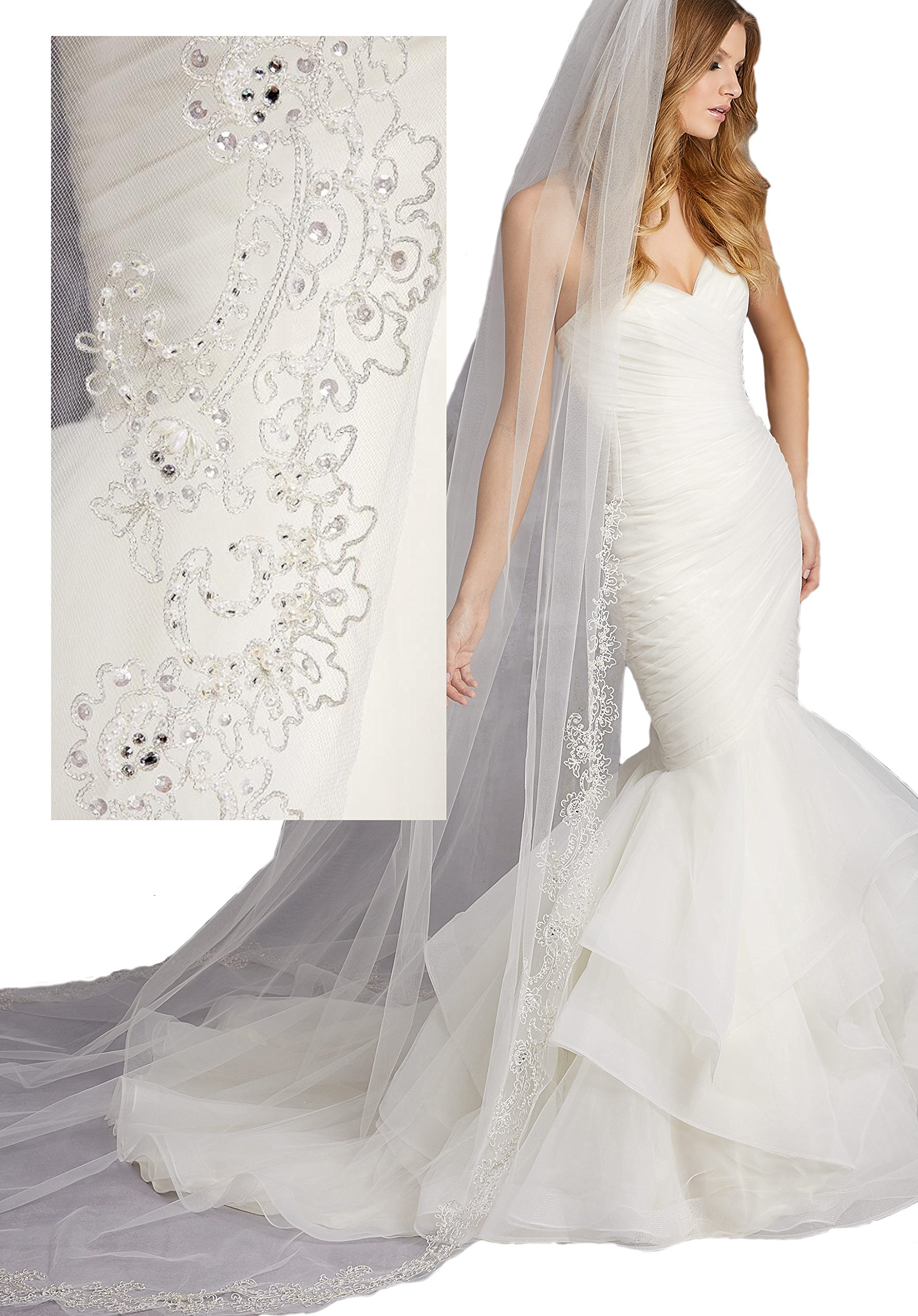 Passat Pale Ivory Single-Tier 3M Cathedral Veil with Embroidery of Pearls, Sequins, and Rhinestones VL-1016