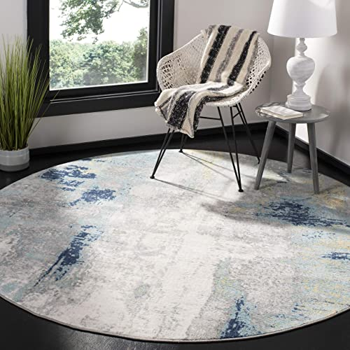 Safavieh Jasper Collection JSP101A Modern Contemporary Abstract Area Rug, 6 7 Round, Grey Gold