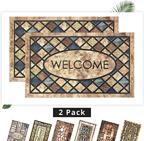 EZHOMEE Outdoor Rubber Welcome Door Mat 29.5 x17.7 , Durable and Non-Slip, Heavy Duty, Entry Floor Mats for Front Door, Entrance, Patio, Porch, High Traffic Areas for Dog Paw, Retro Square, 2 Pack