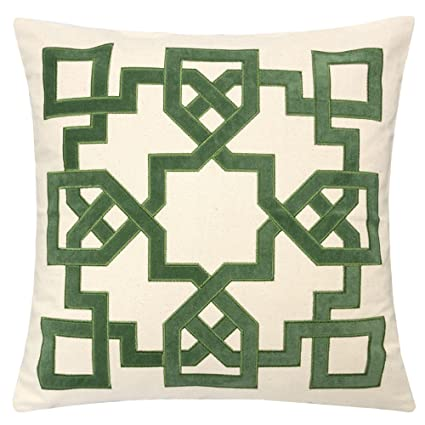 Homey Cozy Applique Throw Pillow Cover,Celtic Knot Green Cotton Canvas  Large Sofa Couch Pillow Sham,20x20 Cover Only