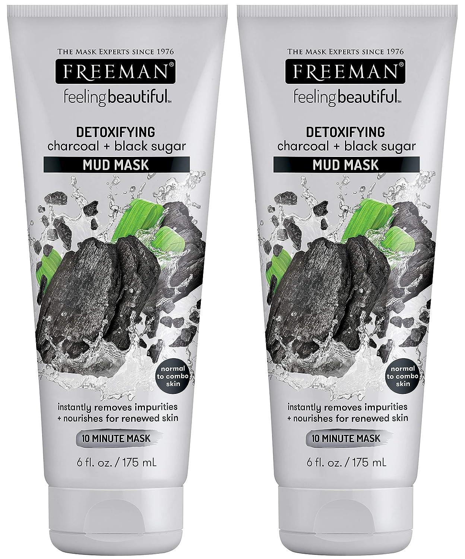 Freeman Facial Charcoal & Black Sugar Mud Mask 6 Ounce (175ml) (2 Pack)