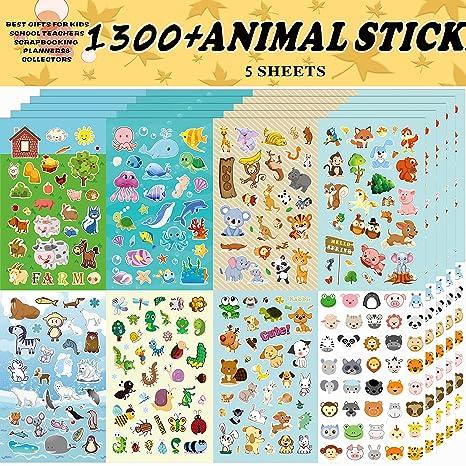 Aufkleber Kinder,Tieraufkleber, Aufkleber für Kinder-Sortiment 1300 PCS, 8 Themen für Kinder, Lehrer, Eltern, Großeltern, Kin