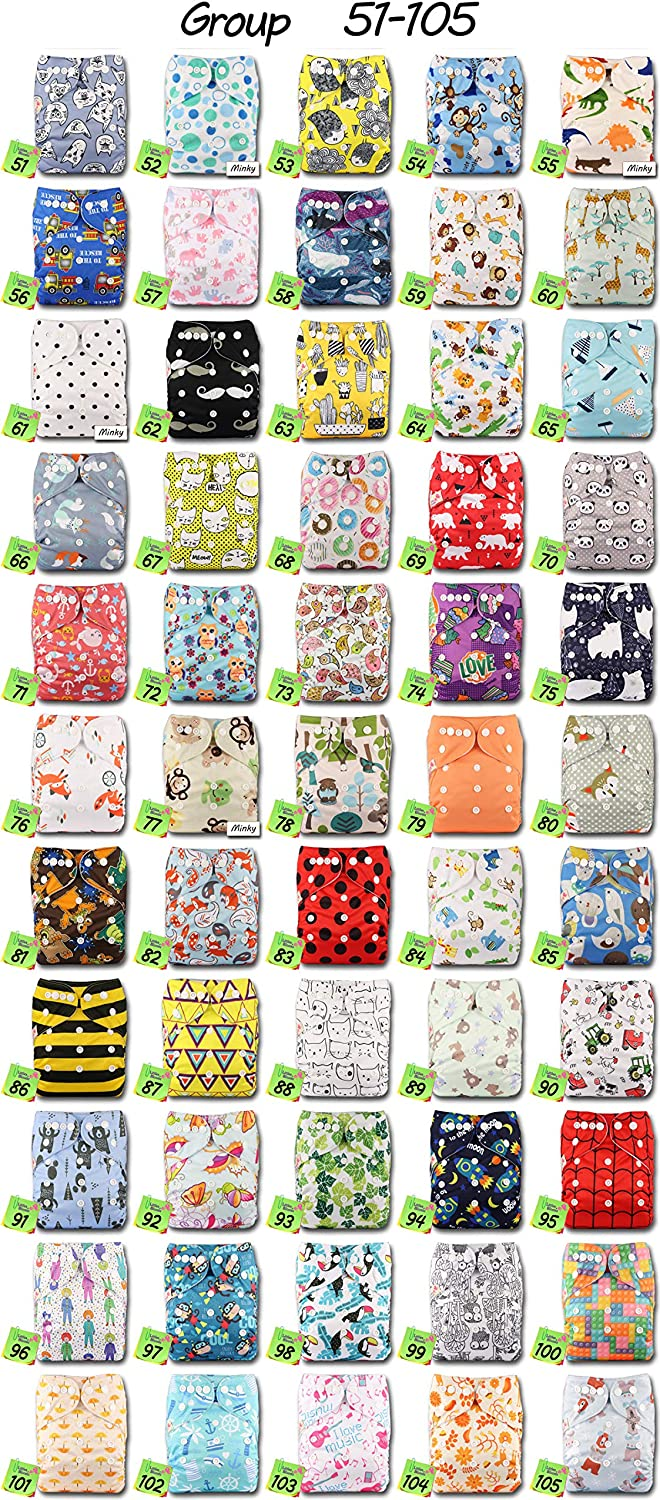 Fastener: Popper Reusable Pocket Cloth Nappy Set of 1 Littles /& Bloomz Pattern 47 with 1 Bamboo Charcoal Insert