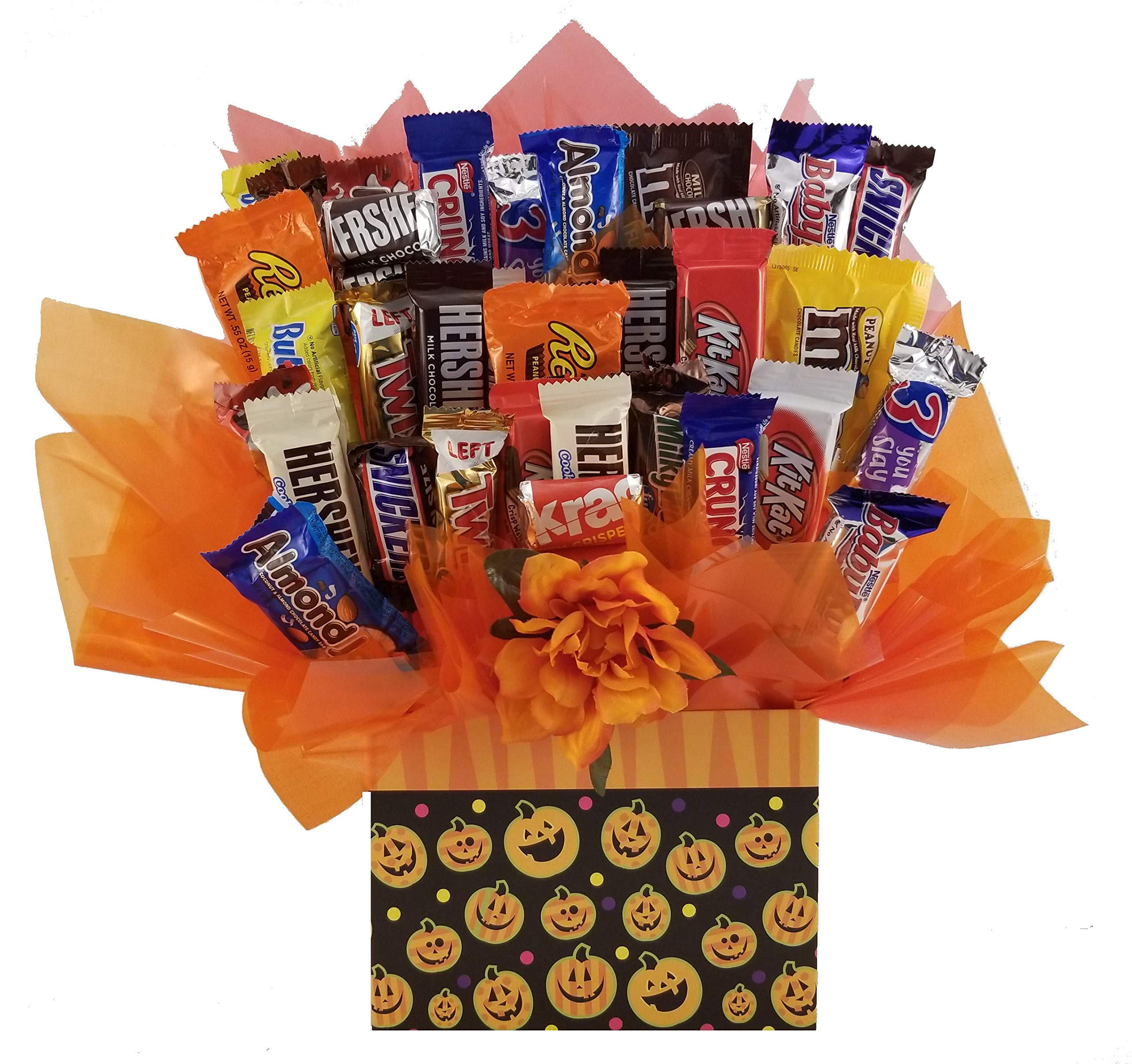 Chocolate Candy bouquet (Halloween Pumpkins Galore Gift Box) by So Sweet of You