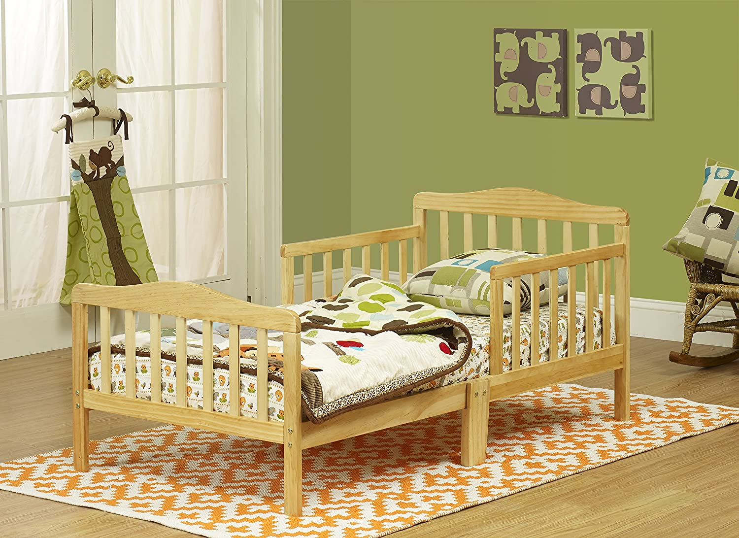 orbelle toddler bed solid wood natural two side safety. Black Bedroom Furniture Sets. Home Design Ideas