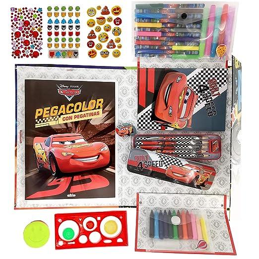 AlmaSoul Kit para colorear niños - con rotuladores - lápices de colores - ceras de colores - pegatinas - purpurina - libro para colorear y pegar de ...