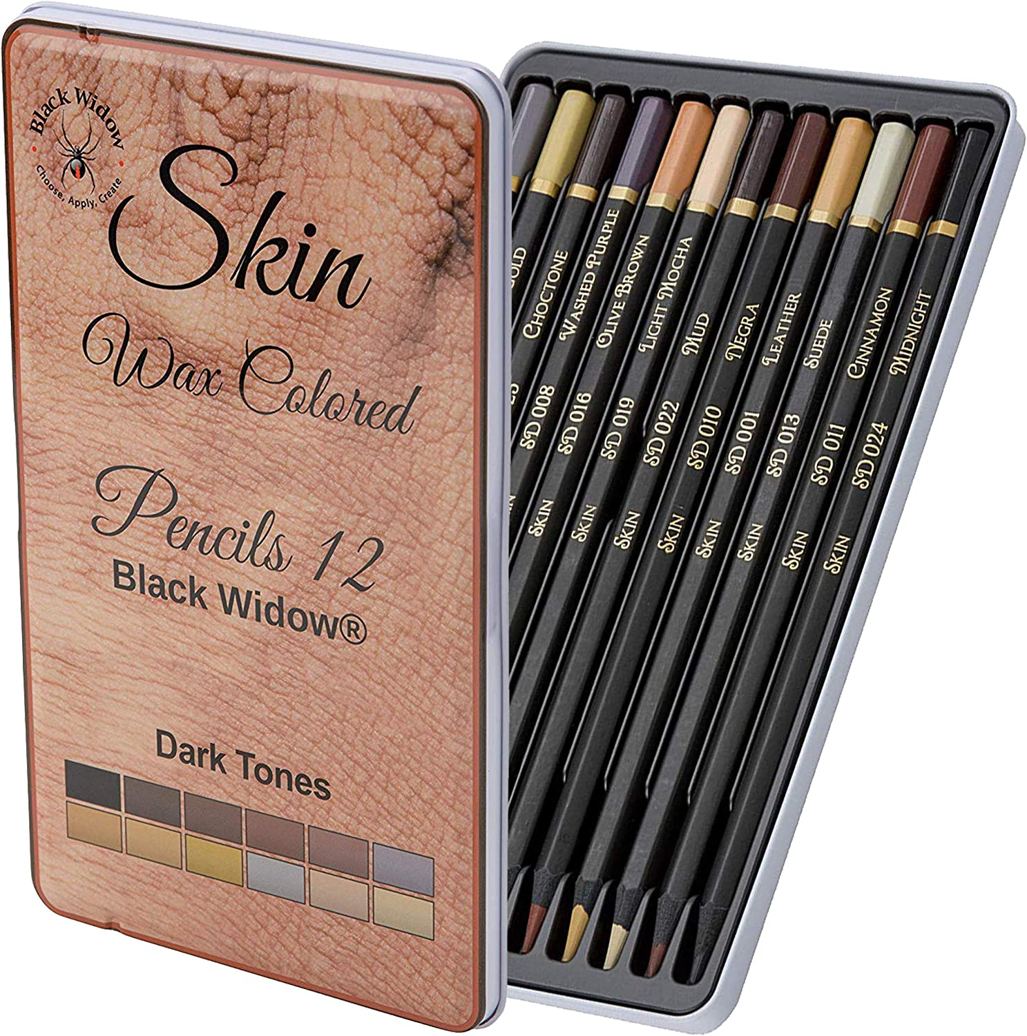 Black Widow Dark Skin Tone Colored Pencils for Adults - Color Pencils for Portraits and Skintone Artists - A Complete Color Range - Now With Light Fast Ratings
