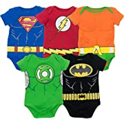 Justice League Baby Boys' 5 Pack Superhero Bodysuits - Batman, Superman, The Flash, Aquaman and Green Lantern (0-3M)