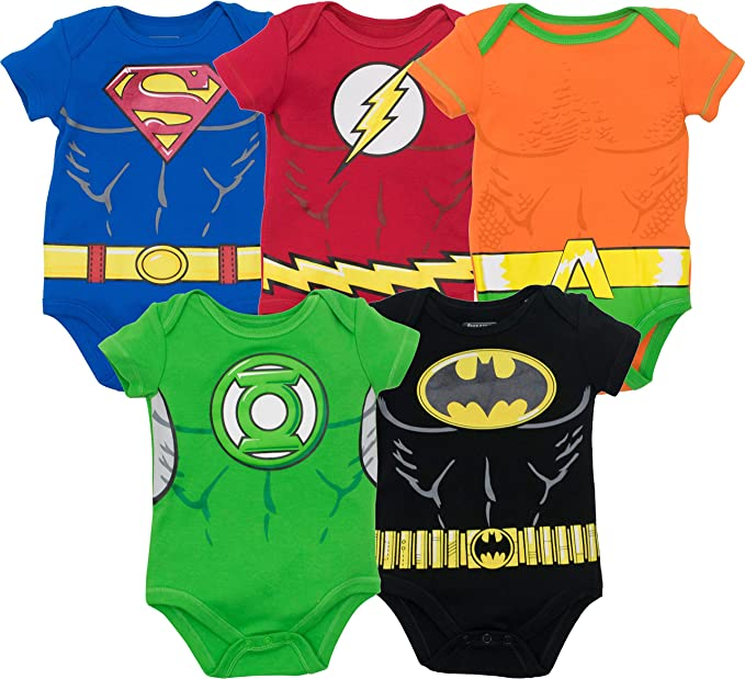 Baby Boys' 5 Pack Superhero Bodysuits