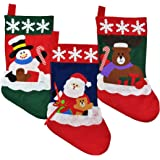 Christmas Stockings for Kids - Set of 3 - Family Fireplace Decorations and Cute Santa Stocking Fillers for Light Gifts & Goodies – 18''/46cm Long, Classic Unique Xmas Socks Made of Soft Felt