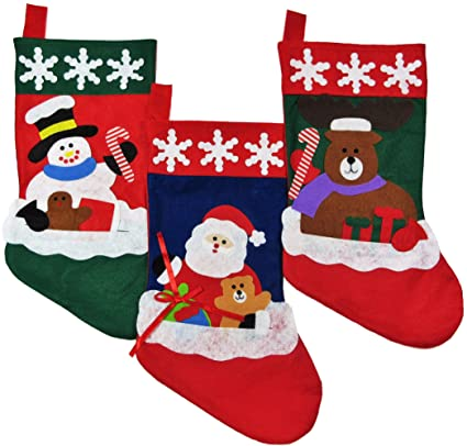 Christmas Stockings for Kids - Set of 3: Santa Stocking with Reindeer &  Snowman Christmas Stocking Fillers - Best for Light Gifts and Goodies – ...