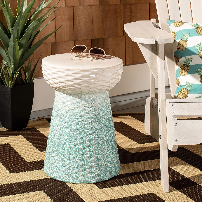 Safavieh ACS4577A Kenson Ceramic Decorative Garden Stool, Light Blue
