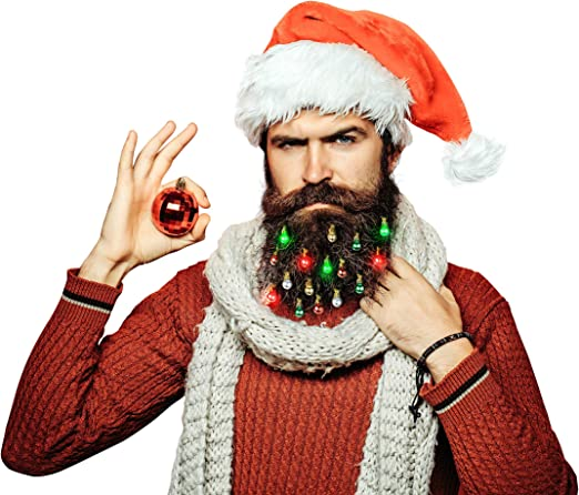 18 LED Beard Lights Fun Novelty Face Hair Festive Secret Santa Party Xmas Gift