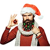 BEARDAMENTS Beard Lights - The Original Light Up Beard Ornaments, 16pc Colorful Christmas Facial Hair Baubles for Men in The