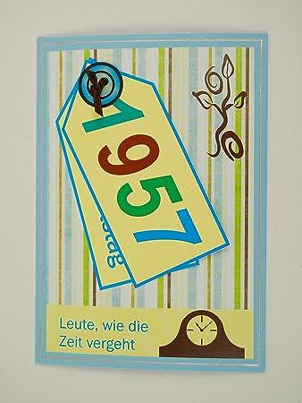 5x Fröhliche Einladungskarten Zum 60. Geburtstag *1957*Handmade*