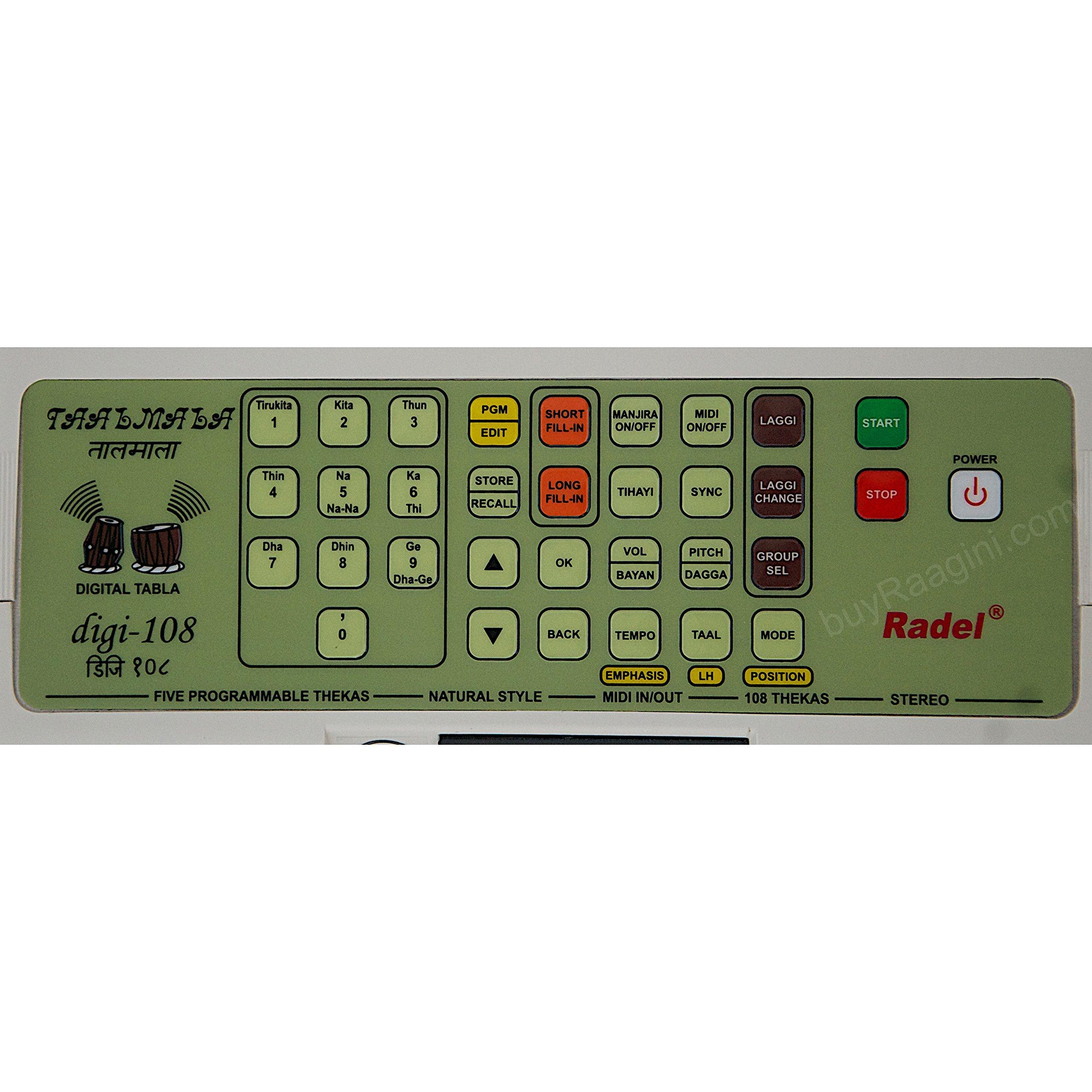 Electronic Tabla - RADEL Taalmala - Digi 108, Electronic Tabla & Manjira - Tabla Sampler, DJ Tabla Sound Machine, Instruction Manual, Power Cord, Bag (US-PDI-AAF) by Radel at buyRaagini.com (Image #5)