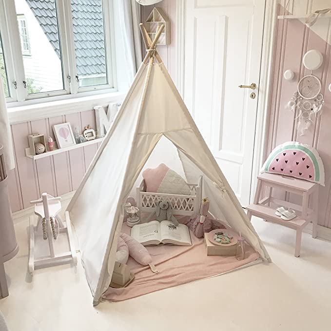 Amazon.com: Tiny Land Kids Teepee Tent Children Play Tent With Mat U0026 Carry  Case For Indoor Outdoor, 5u0027 Raw White Canvas Teepee: Toys U0026 Games