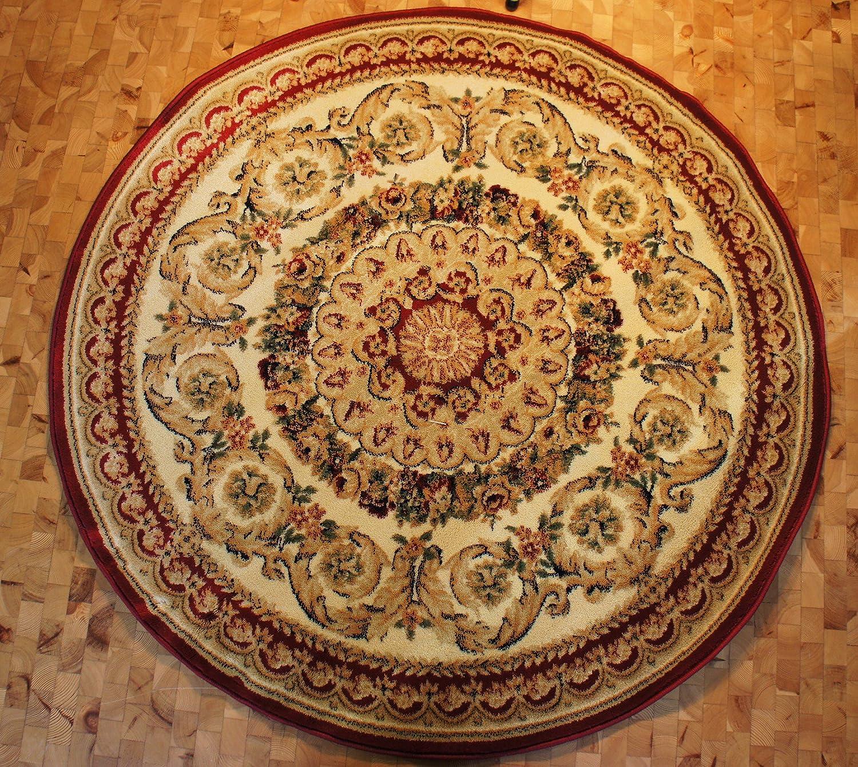 Karatcarpet Klassischer Teppich Kurzflor Kollektion Lotos 539 120 Rot 200x200cm Rund.