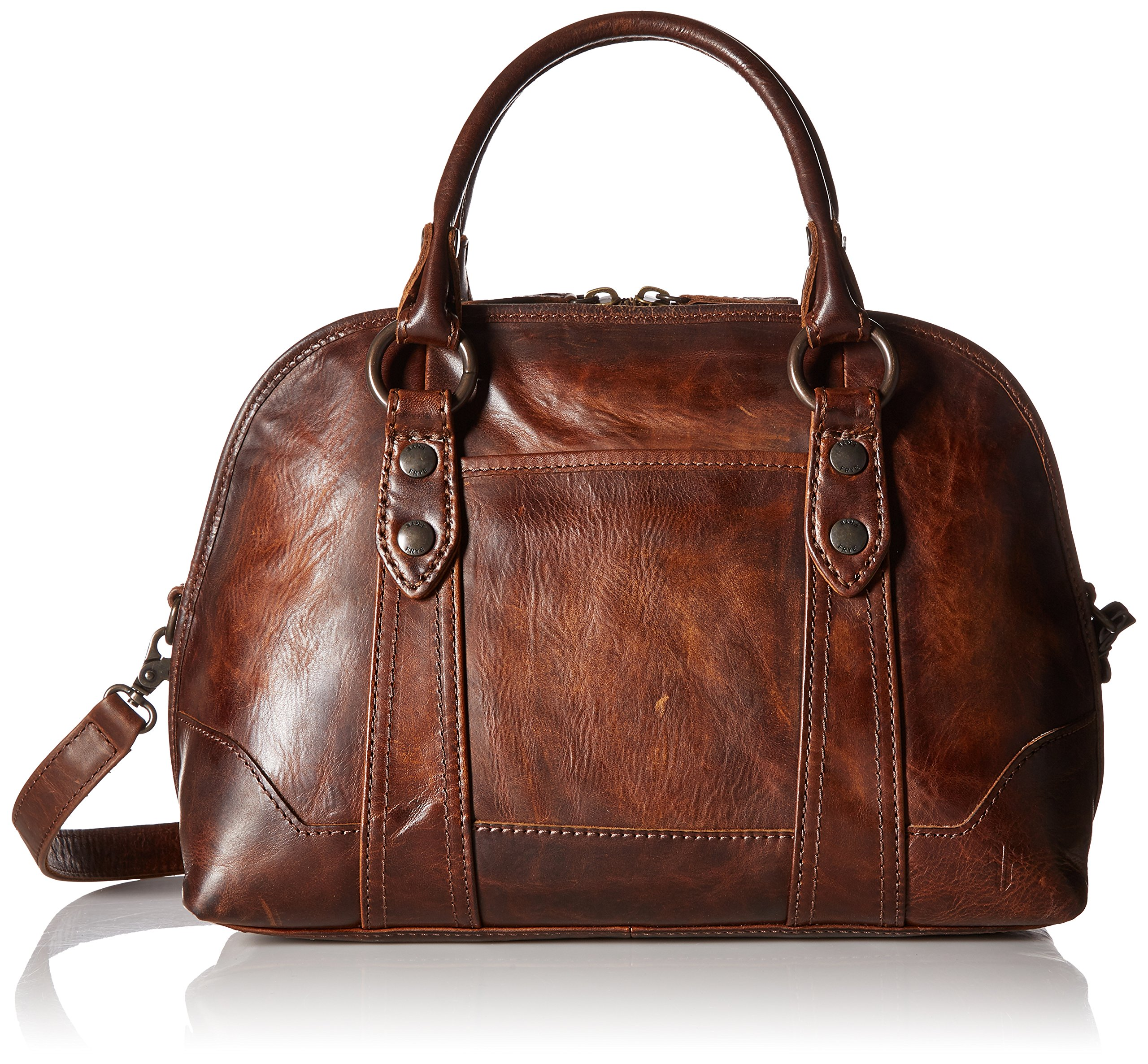 FRYE Melissa Domed Satchel Bag, Dark Brown, One Size by FRYE