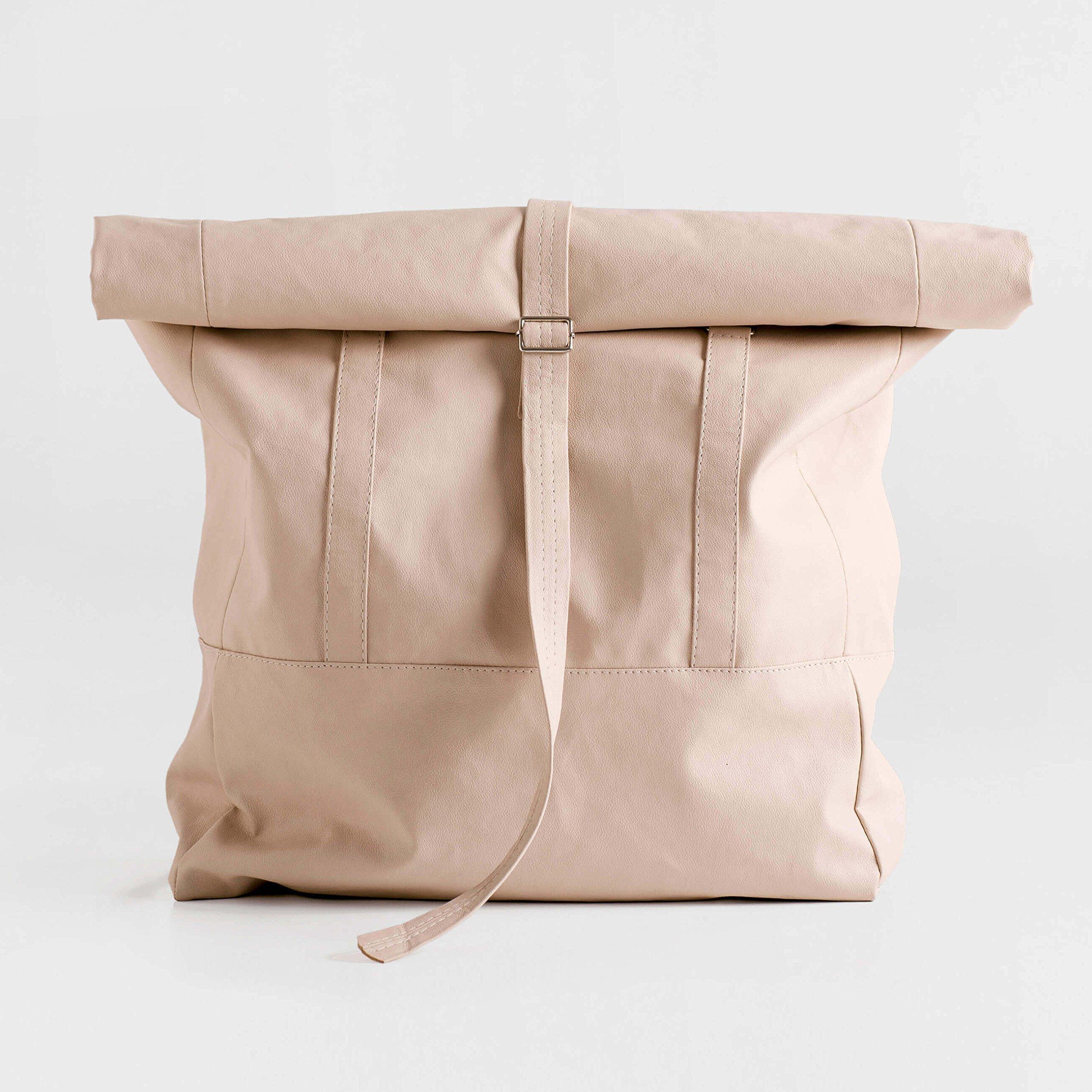 Large Convertible Backpack Tote Bag, Women Backpack, Lightweight Shoulder Bag - Travel Daypack, PU Vegan Leather Rucksack, Big Shoulder Bag