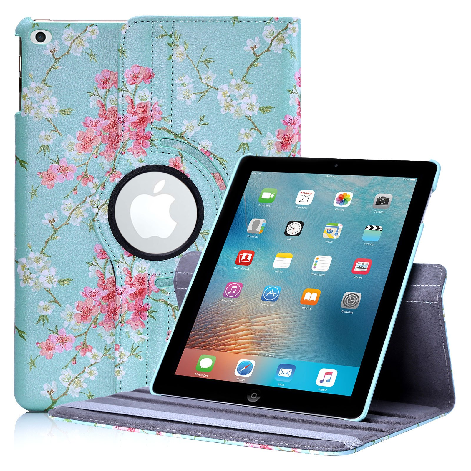 iPad 9.7 Inch (2017) Floral Design Case by 32nd, Faux Leather Folio Style Stand Cover Suitable for Apple iPad 9.7 inch (released March 2017) - Spring Blue by 32ndShop