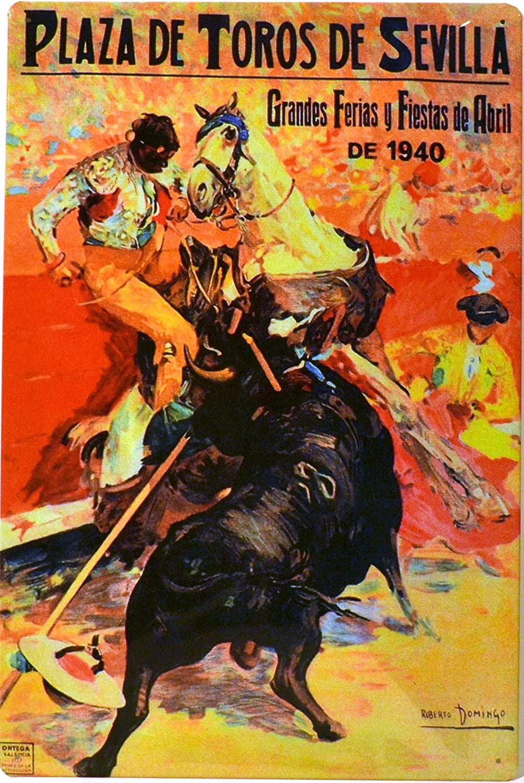 ART ESCUDELLERS Cartel Póster publicitario de Chapa metálica con diseño Retro Vintage de Catalunya/España. Tin Sign. 50 cm x 33,50 cm (Plaza DE TOROS ...