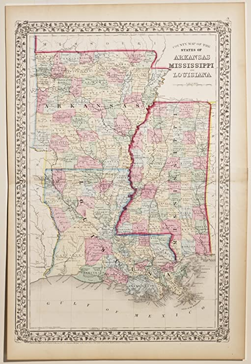 s in mississippi map Amazon Com County Map Of The State Of Arkansas Mississippi s in mississippi map