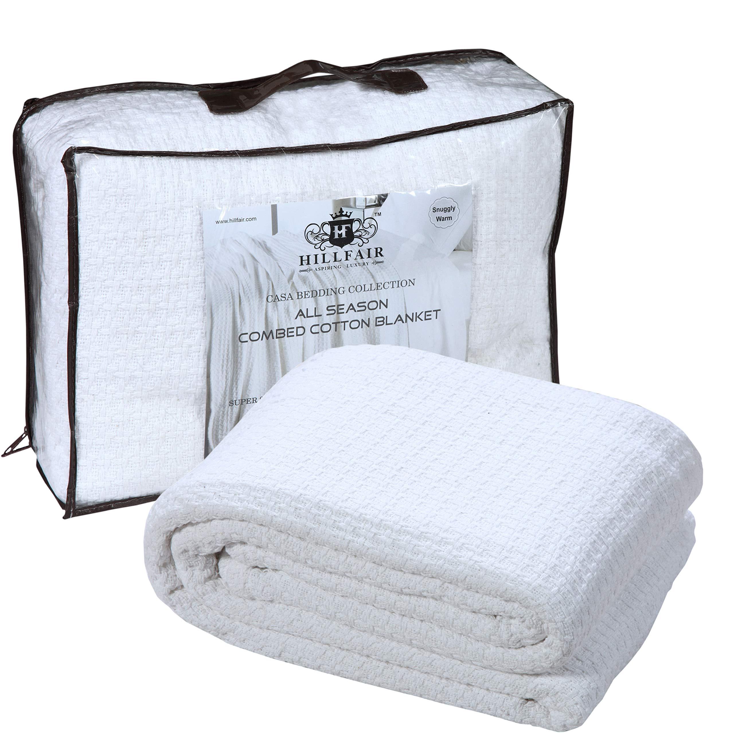 HILLFAIR 100% Soft Premium Combed Cotton Blanket- California King Blankets - Soft Warm Cotton Blanket-Extra Large California King Size Bed Blankets- All Season Cotton Blankets-White Cotton Blankets