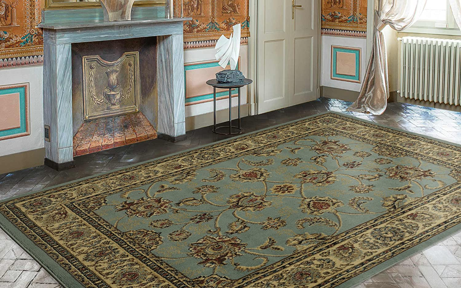 Ottomanson Royal Collection Traditional Oriental Floral Bak Roll Cat Tidy 9 Inc Design Area Rug 710 X 910 Sage Green Home Kitchen