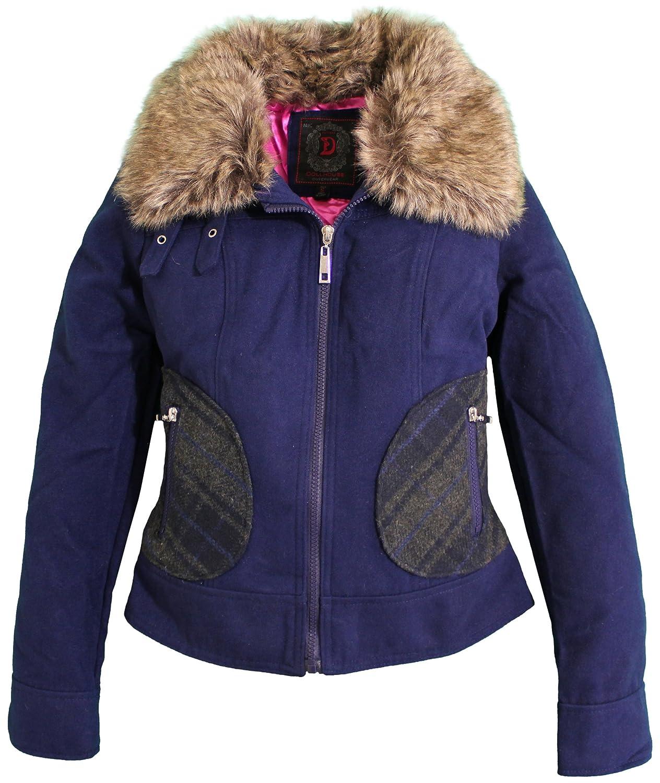 dollhouse Womens Classic Full Zip Wool Look Midweight Pea Jacket