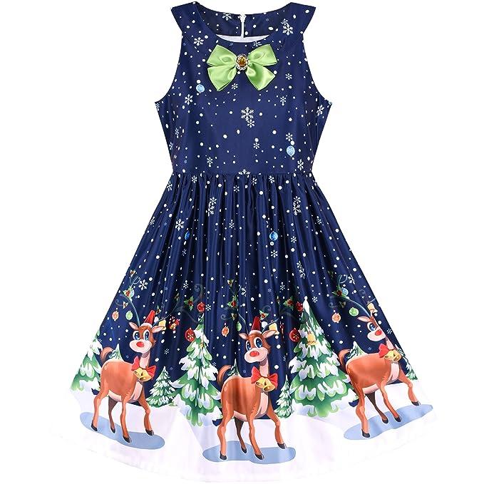 Sunny Fashion Vestido para niña Navidad Víspera Árbol de Navidad Nieve Reno Fiesta 7 años