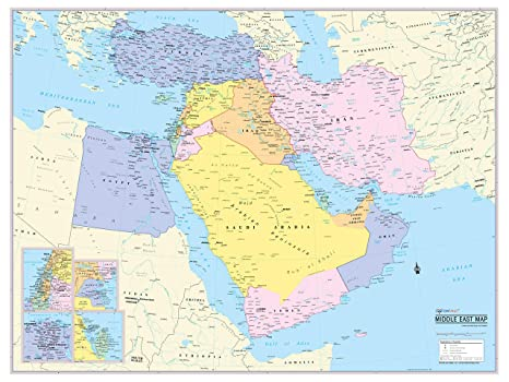 Amazon.com : Cool Owl Maps Middle East Wall Map Poster ...