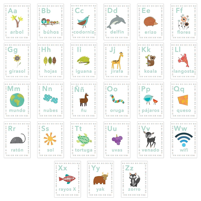 Spanish Alphabet 5x7 Wall Cards, Our World, Nature Themed, Kid's Wall Art, Nursery Decor, Kid's Room Decor, Gender Neutral Nursery Decor