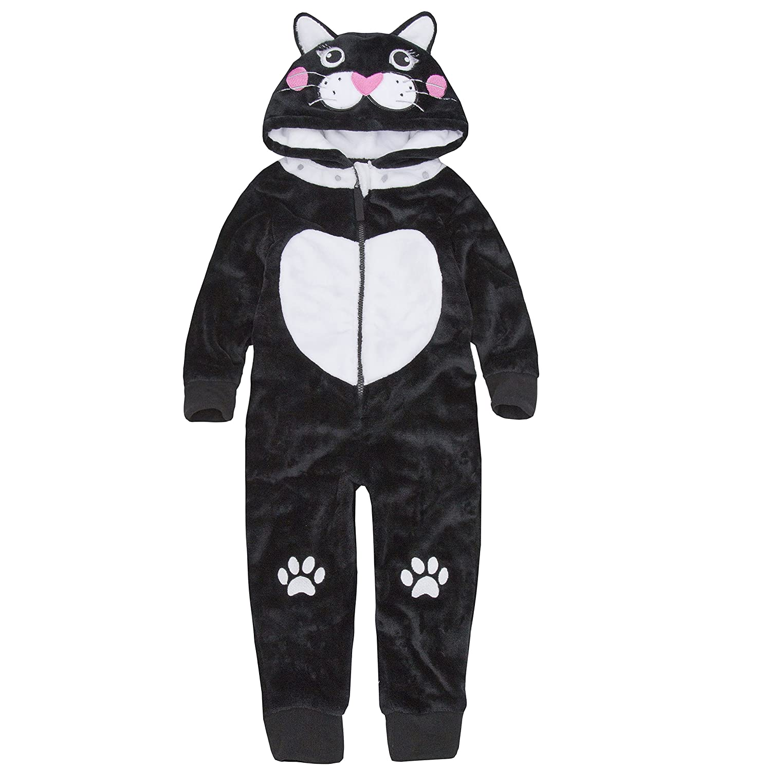 Girls All In One Novelty Sleepsuit In Gorgeous Black Cat Design Soft Luxurious Fleece 2-13 Years