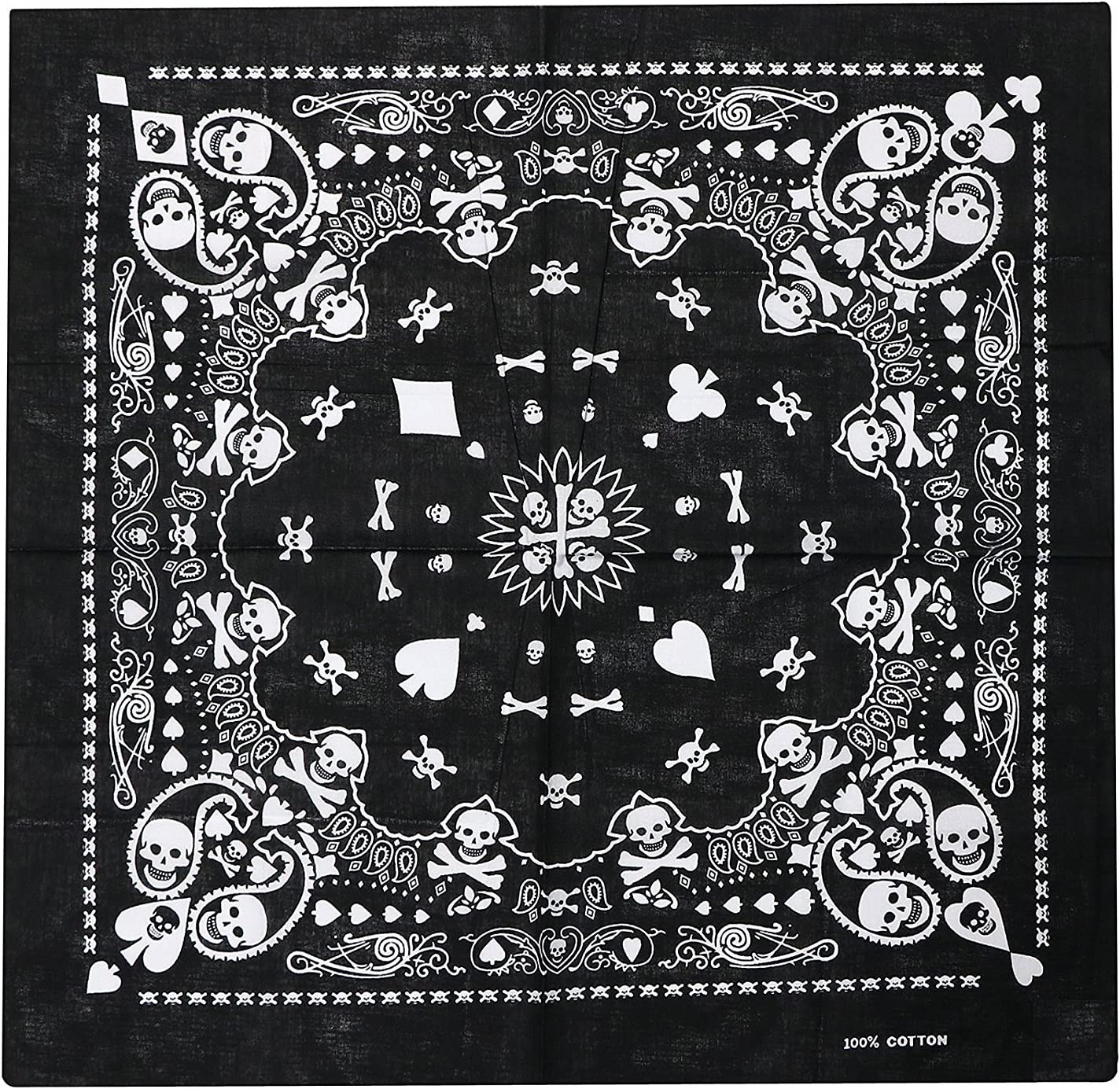 TRIXES Black Bandana with Double-sided White Skull Design Head Scarf