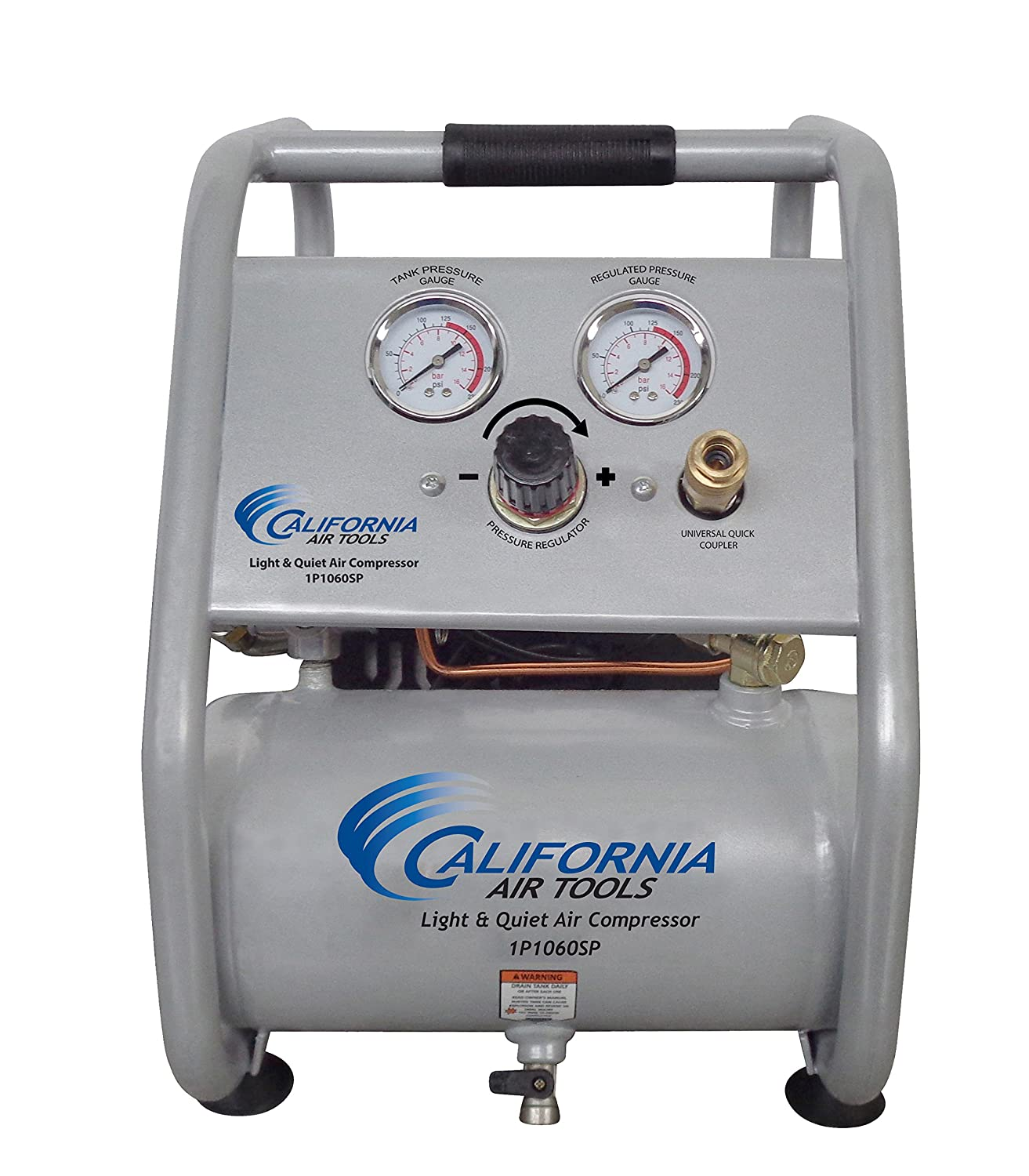 California Air Tools 1.0 Gal. Light and Quiet Steel Tank Electric Portable Air Compressor with Panel CAT-1P1060SP