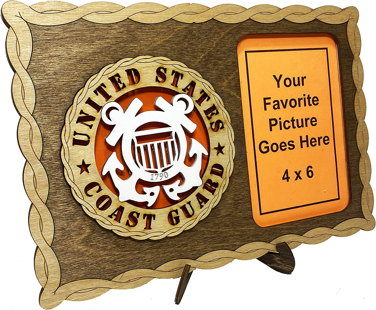 Armed Forces Coast Guard Custom Laser Crafted Three Dimensional Wooden Military Picture Frame