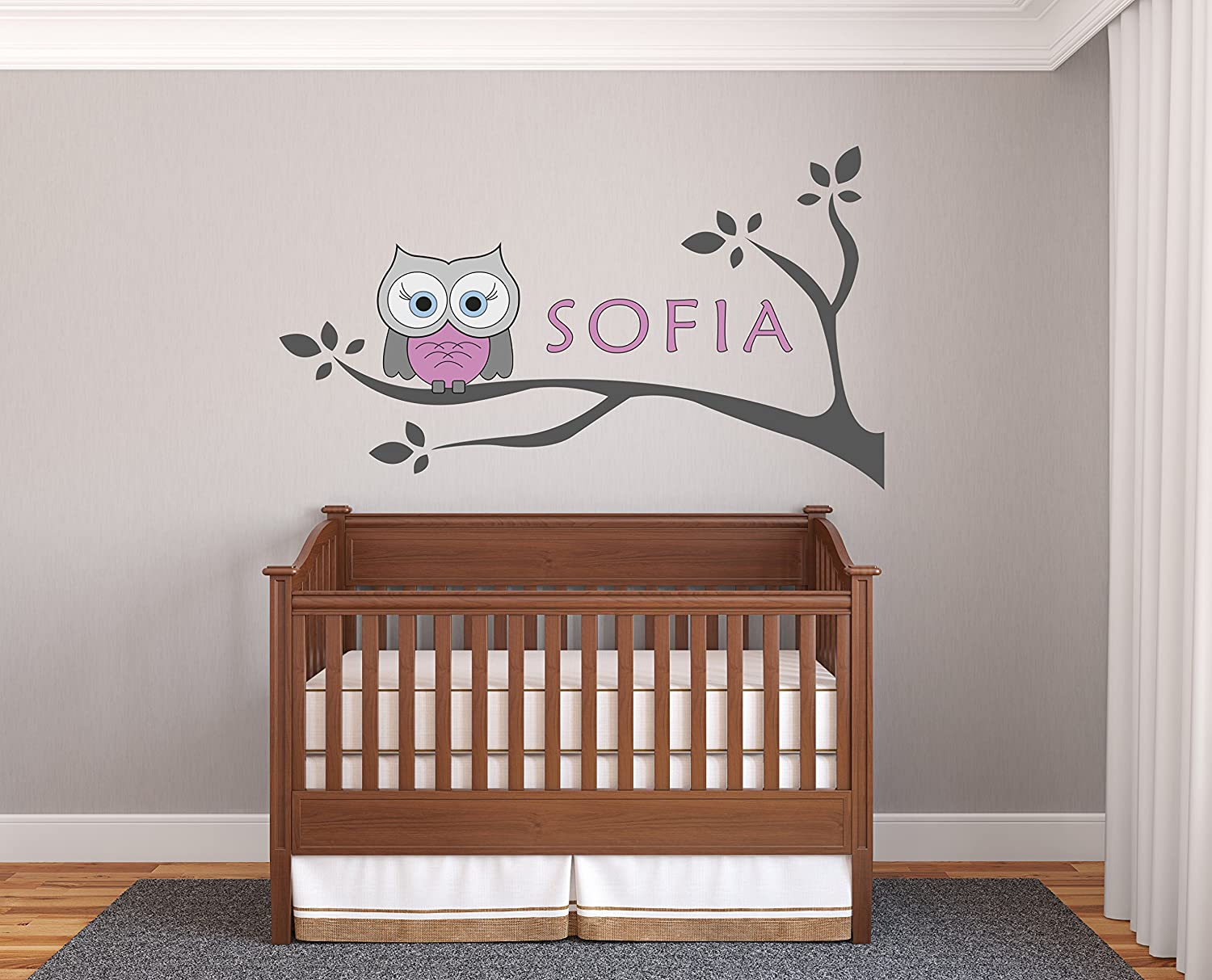 """Personalized Name Owl and Branches - Prime Series - Baby Girl - Nursery Wall Decal for Baby Room Decorations - Mural Wall Decal Sticker for Home Children's Bedroom(02J) (Wide 24""""x14"""" Height)"""