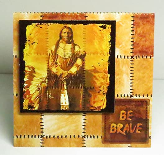 Amazon handmade 3d native american indian male be brave blank handmade 3d native american indian male be brave blank square greeting card with gold foiling highlights m4hsunfo
