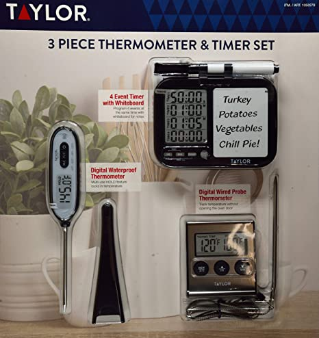 Taylor 3 Piece Thermometer & Timer Set