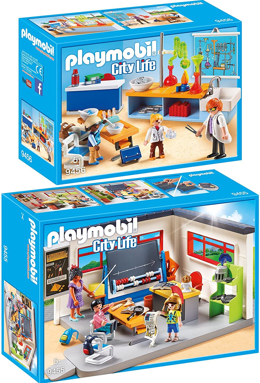 PLAYMOBIL® City Life 2er Set 9454 9456 Turnhalle Chemieunterricht
