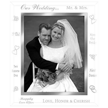 Malden International Designs Our Wedding Mirrored Glass With Mirrored Inner Border Picture Frame, 8x10, Silver