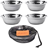 Stainless Steel Bowl Set - 6 inch Ultra-Portable Dinnerware Round BPA Free Bowls with Mesh Travel Bag for Outdoor Camping | Hiking | Picnic | BBQ | Beach