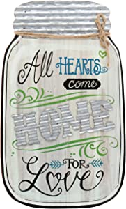 Barnyard Designs Rustic All Hearts Come Home for Love Mason Jar Decorative Wood and Metal Wall Sign Vintage Country Decor 14