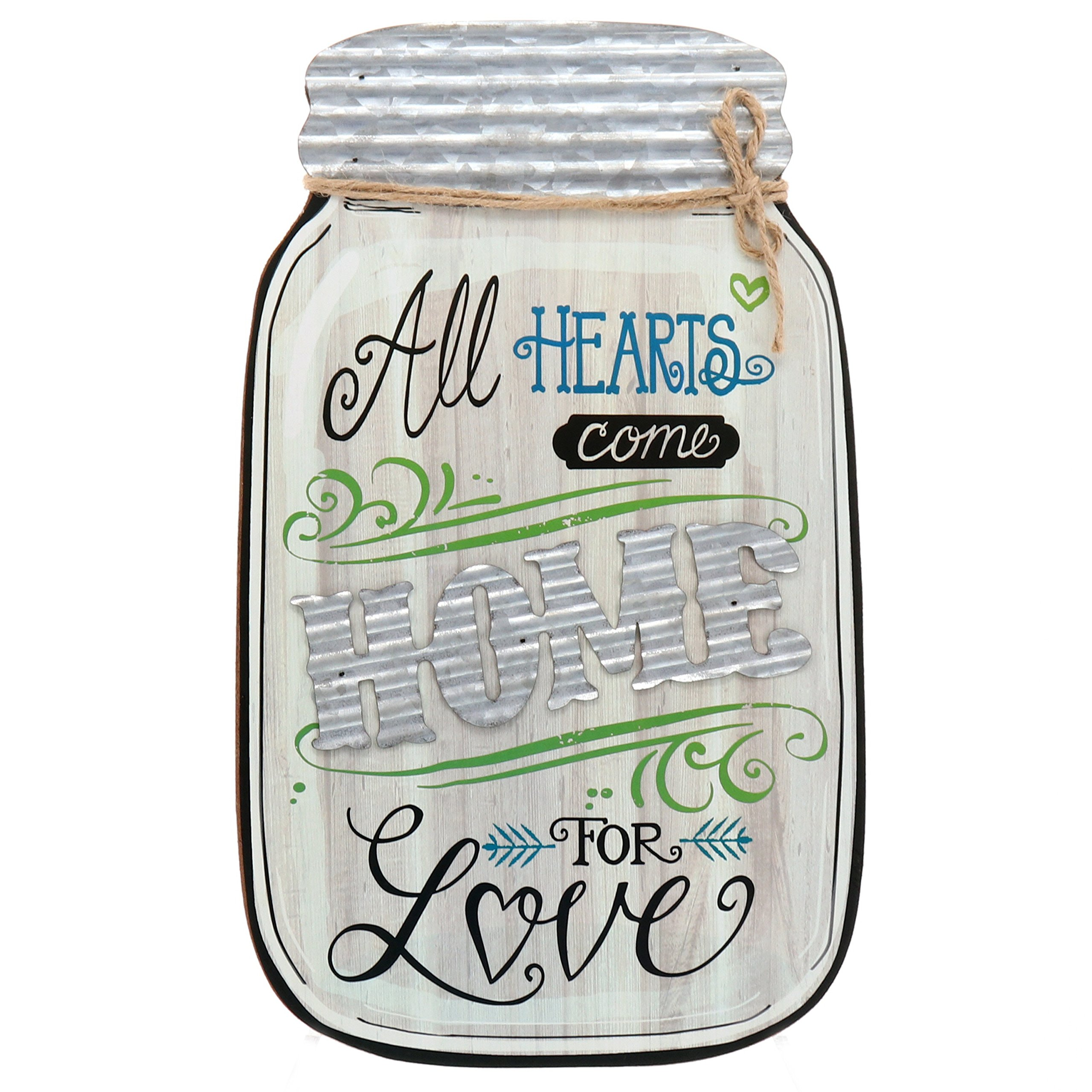 Barnyard Designs Rustic All Hearts Come Home For Love Mason Jar Decorative Wood and Metal Wall Sign Vintage Country Decor 14''x9''