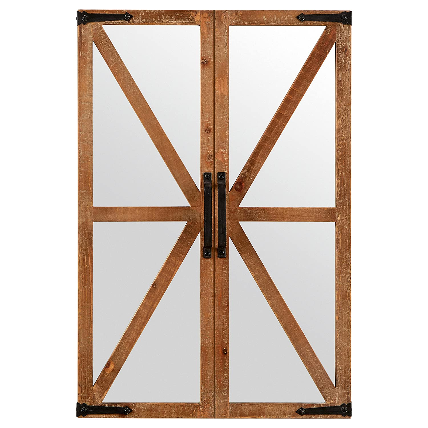 "Stone & Beam Rustic Wood and Iron Barn Door Mirror, 30""H, Natural"