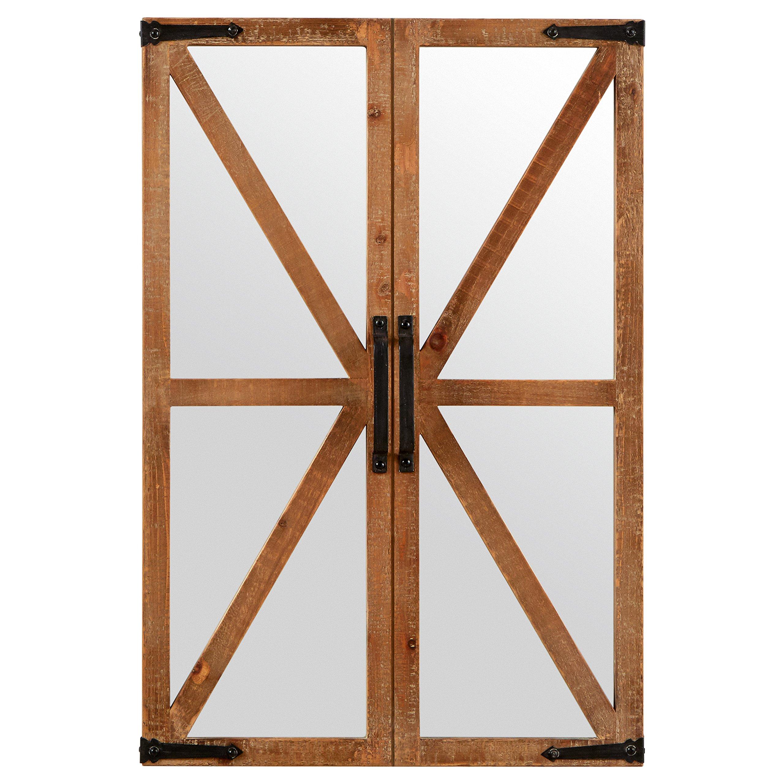 Stone & Beam Rustic Wood and Iron Barn Door Mirror, 30''H, Natural