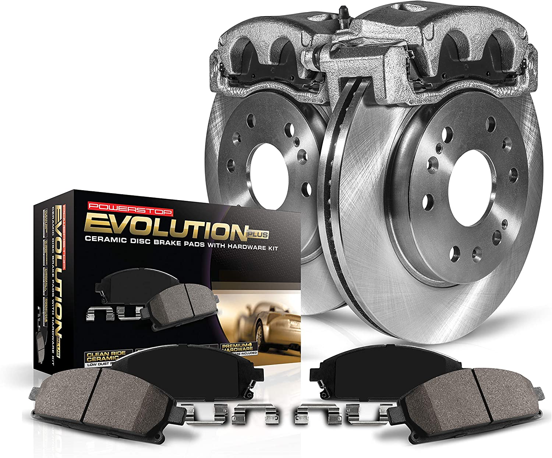 Calipers Ceramic Brake Pads Power Stop KCOE7727 Autospecailty Replacement Rear Kit-Rotors